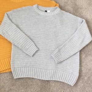 Gray cable knit crewneck